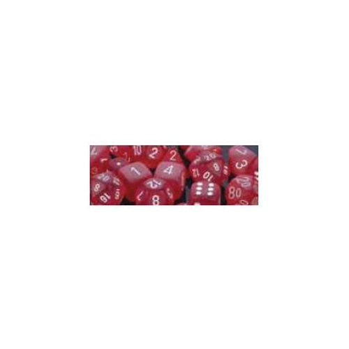 Chessex -  D6 Dice Frosted 16mm Red/White (12 Dice in Display)