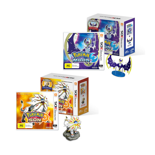 Pokemon Sun and Moon with Solgaleo and Lunala Figures 3DS